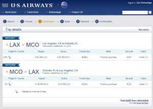 Los Angeles to Orlando: US Air Booking Page
