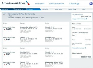 Minneapolis-Honolulu: American Airlines Booking Page