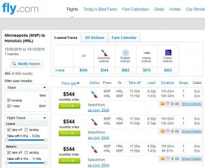 Minneapolis-Honolulu: Fly Search Results