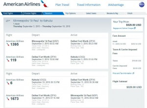Minneapolis-Kahului: American Airlines Booking Page