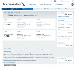 NYC to Miami: American Airlines Booking Page