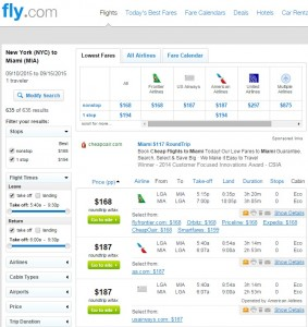 NYC to Miami: Fly.com Results