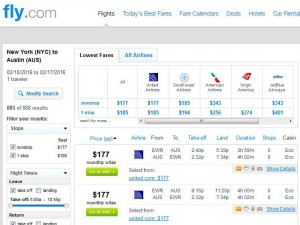 New York City-Austin: Fly Search Results