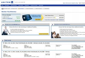 New York City-Austin: United Airlines Booking Page