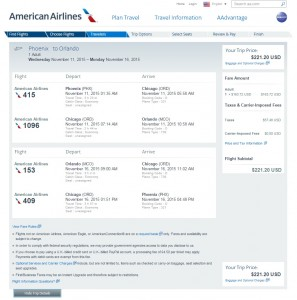 Phoenix to Orlando: AA Booking Page