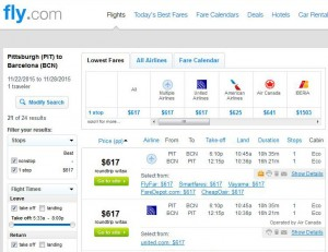 Pittsburgh-Barcelona: Fly Search Results
