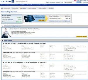 Pittsburgh-Barcelona: United Airlines Booking Page