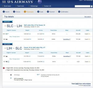Salt Lake City-Kauai: US Airways Booking Page