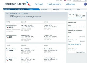 Salt Lake City-Maui: American Airlines Booking Page