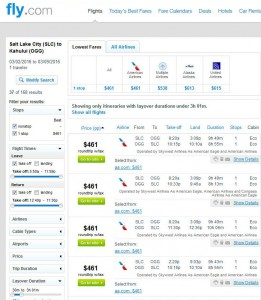 Salt Lake City-Maui: Fly Search Results