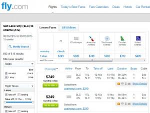 Salt Lake City to Atlanta: Fly.com Results