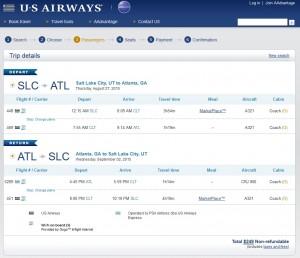 Salt Lake City to Atlanta: US Air Booking Page