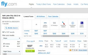 Salt Lake City to Orlando: Fly.com Results