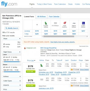 San Francisco to Chicago: Fly.com Results