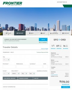 San Francisco to Chicago: Frontier Booking Page
