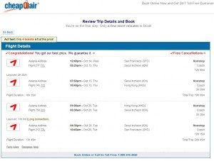 San Francisco to Hong Kong: CheapOair Booking Page