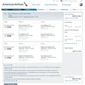 San Francisco to Los Cabos: AA Booking Page