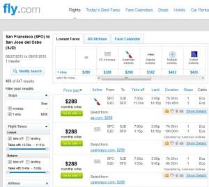 San Francisco to Los Cabos: Fly.com Results