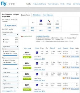 San Francisco to Miami: Fly.com Results