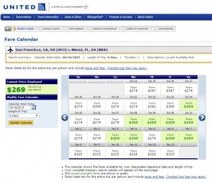 San Francisco to Miami: United Results Page