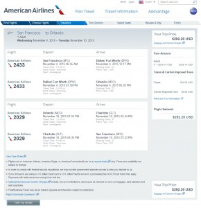 San Francisco to Orlando: AA Booking Page