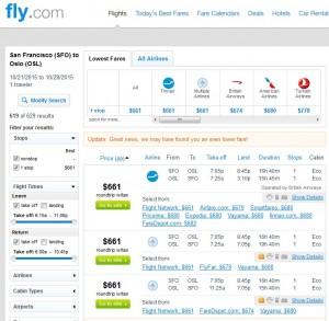 San Francisco to Oslo: Fly.com Results