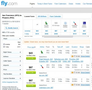 San Francisco to Phoenix: Fly.com Results