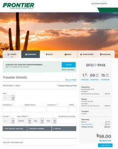 San Francisco to Phoenix: Frontier Booking Page