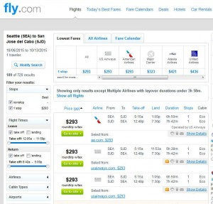 Seattle-Los Cabos: Fly Search Results