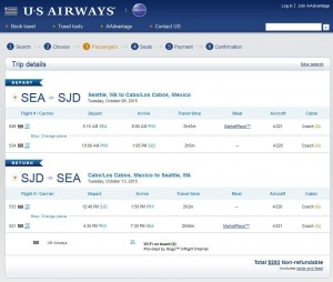 Seattle-Los Cabos: US Airways Booking Page
