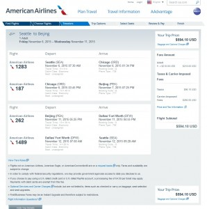 Seattle to Beijing: AA Booking Page