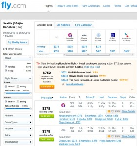Seattle to Honolulu: Fly.com Results