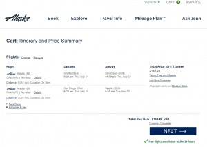 Seattle to San Diego: Alaska Airlines Booking Page