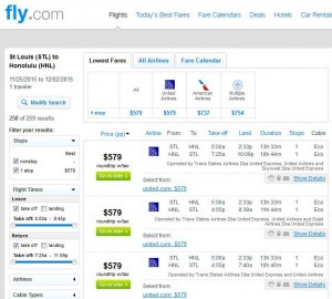 St. Louis-Honolulu: Fly Search Results