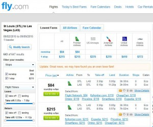 St. Louis-Las Vegas: Fly Search Results