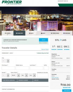 St. Louis-Las Vegas: Frontier Airlines Booking Page