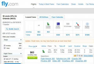 St. Louis-Orlando: Fly Search Results