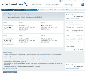 Washington DC to New Orleans: AA Booking Page