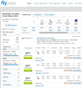 Washington DC to New Orleans: Fly.com Results