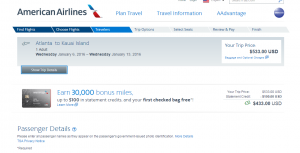 Atlanta to Kauai: American Airlines Booking Page