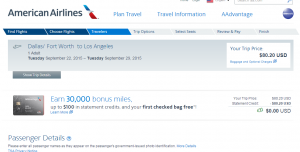 Dallas to LA: American Airlines Booking Page