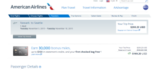 NYC to Seattle: American Airlines  Page