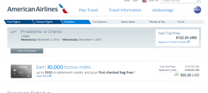 Philly to Orlando: American Airlines Booking Page
