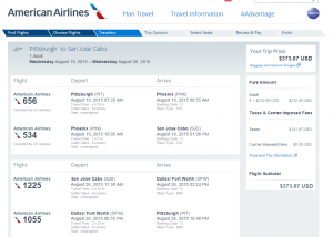 Pitt to San Jose del Cabo: American Airlines Booking Page