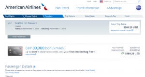 Seattle to NYC: American Airlines Page