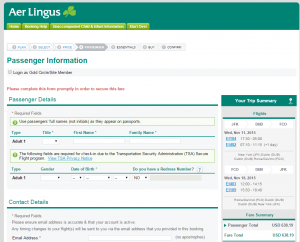NYC to Rome: Aer Lingus Booking Page