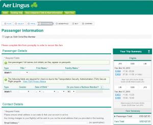 NYC to Milan: Aer Lingus Booking Page