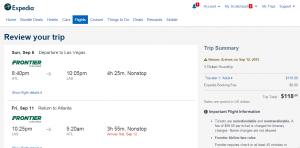 Atlanta to Vegas: Expedia Booking Page