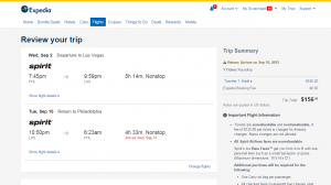 Philly to Las Vegas: Expedia Booking Page