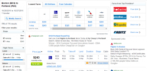 Boston to Portland: Fly.com Results Page